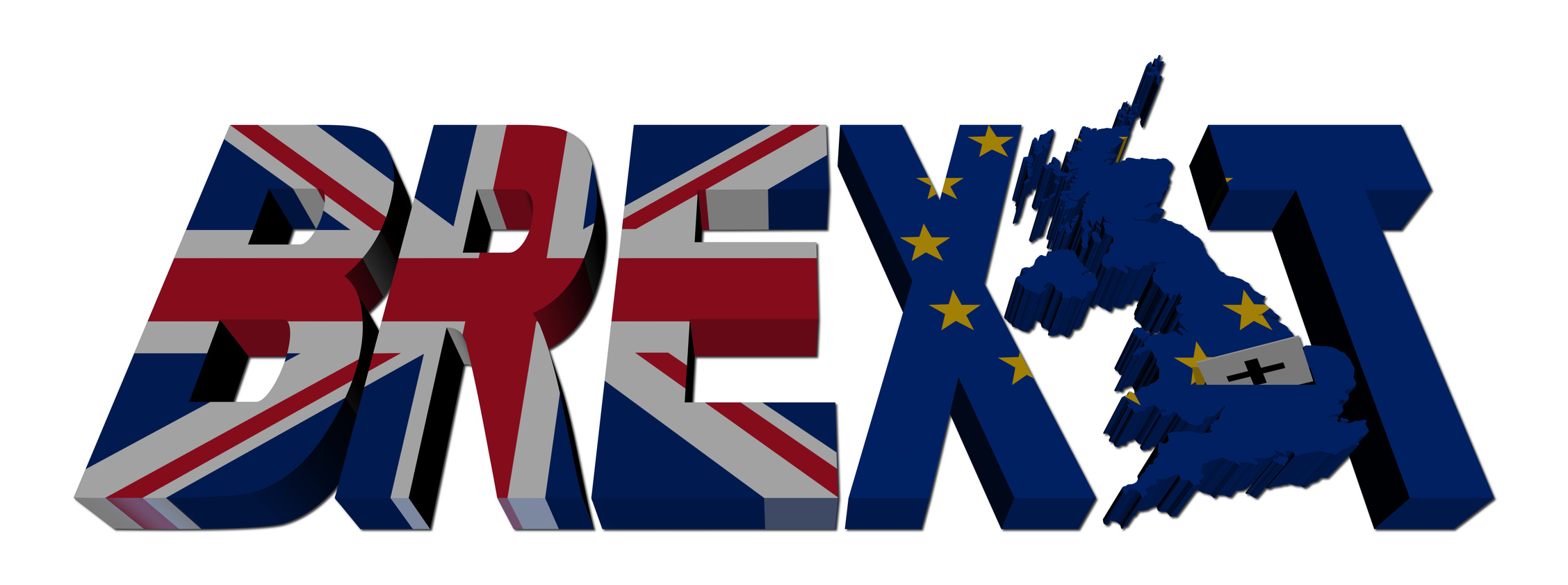 Brexit text with British and Eu flags illustration