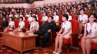 epa04983608 An undated picture released by Rodong Sinmun newspaper, the state-run North Korean newspaper of the ruling Workers Party, on 19 October 2015 of North Korean leader Kim Jong-un (3-R) and his wife Ri Sol-ju (4-R), along with members of an all-female music band, known as the Moranbong Band, watching a performance given by the Chongbong Band to mark the 70th anniversary of the founding of the ruling Workers' Party of Korea. It was not reported when or where the photo was taken.  EPA/Rodong Sinmun SOUTH KOREA OUT * BEST QUALITY AVAILABLE  EDITORIAL USE ONLY