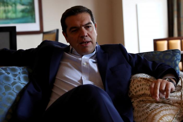 Greek Prime Minister Alexis Tsipras is seen during an interview on the sidelines of the United Nations General Assembly in Manhattan, New York, U.S. September 21, 2016. REUTERS/Andrew Kelly