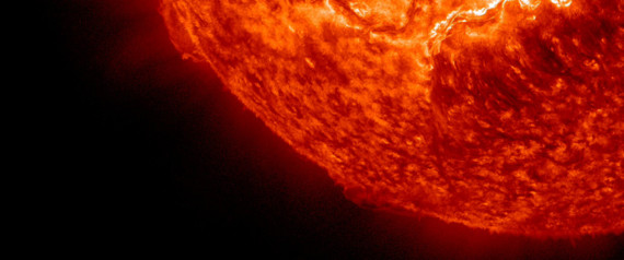 The Sun erupted with two prominence eruptions, one after the other over a four-hour period, as pictured in this NASA handout photo taken on November 16, 2012. The action was captured in the 304 Angstrom wavelength of extreme ultraviolet light. It seems possible that the disruption to the Sun