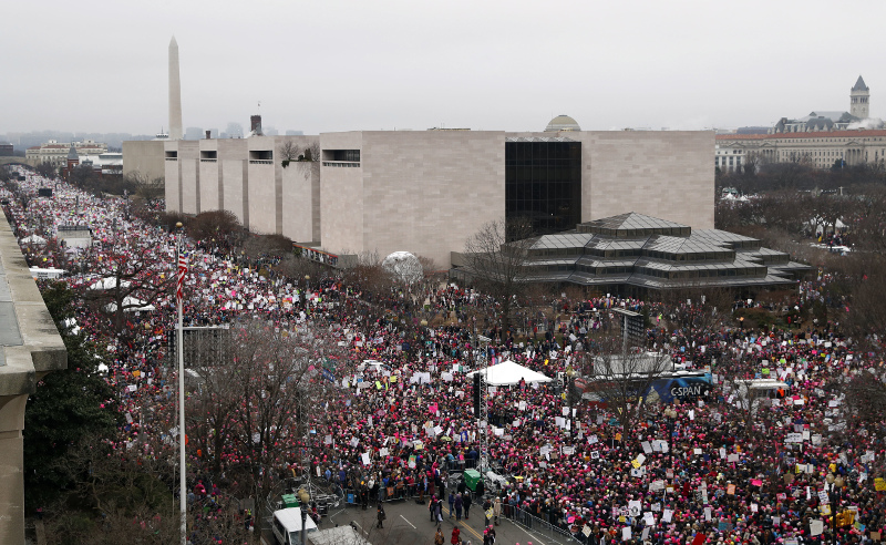 A crowd fills Independence Avenue at the intersection of 4th Street NW, during the Women's March on Washington, Saturday, Jan. 21, 2017 in Washington. (AP Photo/Alex Brandon)