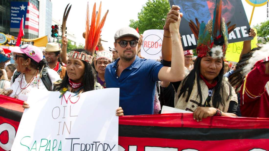DiCaprio marches with climate protesters
