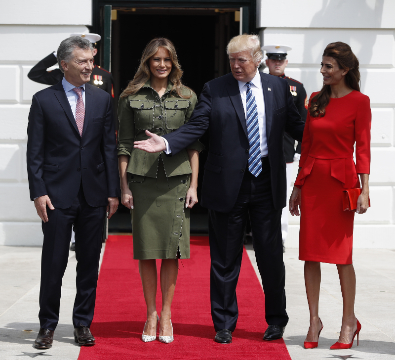 President Donald Trump first lady Melania Trump greets Argentine President Mauricio Macri and his wife Juliana Awada at the White House, Thursday, April 27, 2017 in Washington. (AP Photo/Pablo Martinez Monsivais)