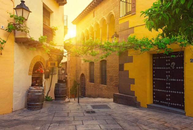 Sunset view of Poble Espanyol - traditional architectures in Barcelona, Spain
