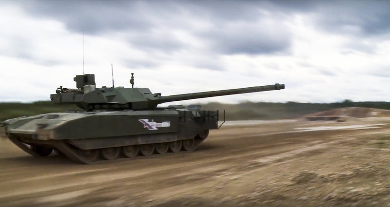 In this frame grab provided by Russian Defence Ministry press service on Sunday, Sept. 11, 2016, shows a Russian T-14 Armata tank moves across challenging terrain at the International military and technical forum ARMY-2016 in Alabino, outside Moscow, Russia. The combat capabilities of the new Russian tank Armata were for the first time shown during a closed exhibition at the international military-technical forum Army 2016. (Russian Defence Ministry Press Service photo via AP)