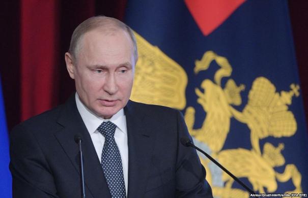 epa06569975 Russian President Vladimir Putin speaks at the annual expanded meeting of the Interior Ministry Board in Moscow, Russia, 28 February 2018.  EPA-EFE/ALEXEI DRUZHININ / SPUTNIK / KREMLIN POOL MANDATORY CREDIT