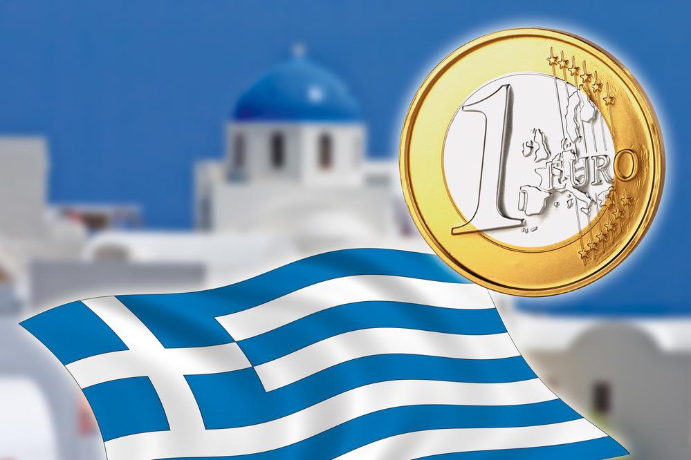 Grexit, Euro coins, flag, Greece, Santorini