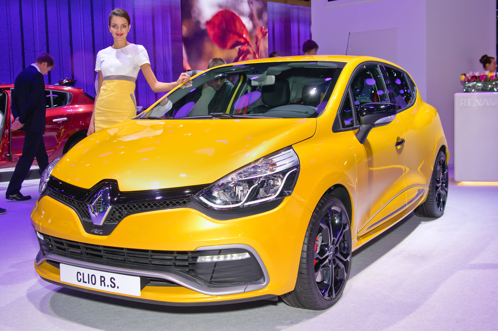MOSCOW-SEPTEMBER 2: Renault Clio R.S. at the Moscow International Automobile Salon on September 2, 2014 in Moscow, Russia.