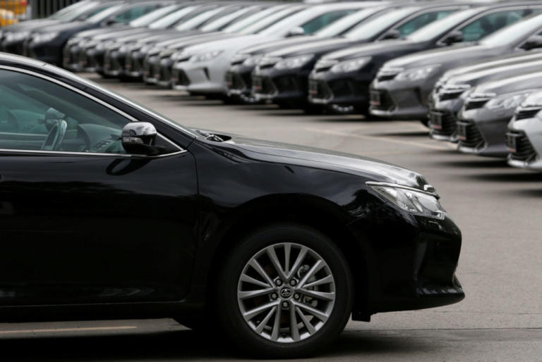 FILE PHOTO: Toyota cars are seen on sale in Moscow, Russia, July 8, 2016.  REUTERS/Sergei Karpukhin/File Photo
