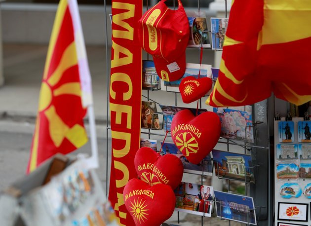 Souvenirs with flag and name of Macedonia written on them are displayed in Skopje, Macedonia January 10, 2018. Picture taken January 10, 2018. REUTERS/Ognen Teofilovski