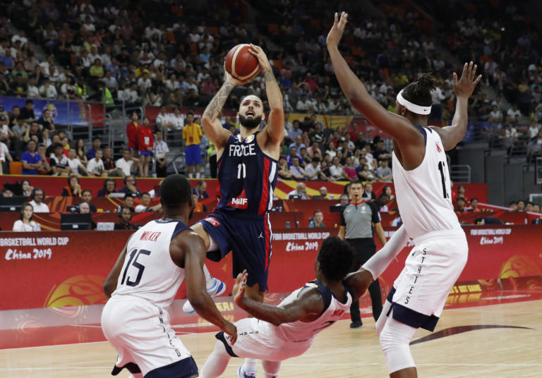 Basketball - FIBA World Cup - Quarter Finals - United States v France - Dongguan Basketball Center, Dongguan, China - September 11, 2019 France's Evan Fournier in action REUTERS/Kim Kyung-Hoon