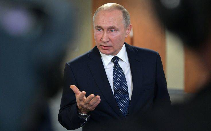 Russian President Vladimir Putin speaks to the media on the sidelines of an industrial exhibition in Yekaterinburg, Russia, Tuesday, July 9, 2019. (Alexei Druzhinin, Sputnik, Kremlin Pool Photo via AP)