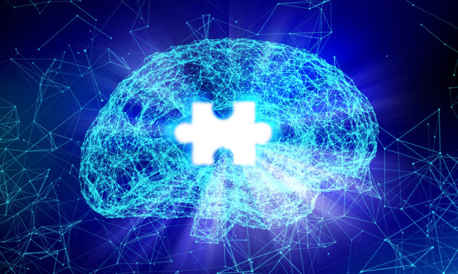 Human brain and jigsaw for Alzheimer's disease in the form of artificial intelligence for technology concept, 3d illustration