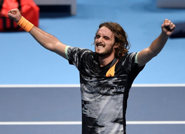 Tennis - ATP Finals - The O2, London, Britain - November 17, 2019   Greece's Stefanos Tsitsipas reacts after winning his final match against Austria's Dominic Thiem   Action Images via Reuters/Tony O'Brien
