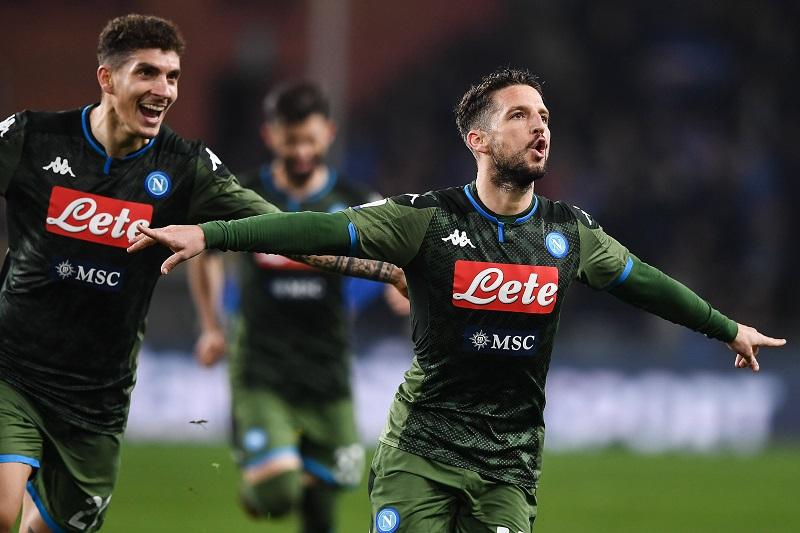 Mg Genova 03/02/2020 - campionato di calcio serie A / Sampdoria-Napoli / foto Matteo Gribaudi/Image nella foto: esultanza gol Dries Mertens PUBLICATIONxNOTxINxITA