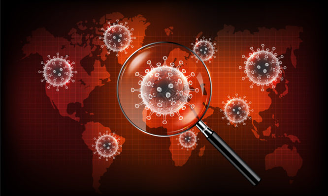 Coronavirus disease COVID-19 infection medical with magnifying glass on world map. New official name for Coronavirus disease named COVID-19, Coronavirus screening concept, vector illustration eps10