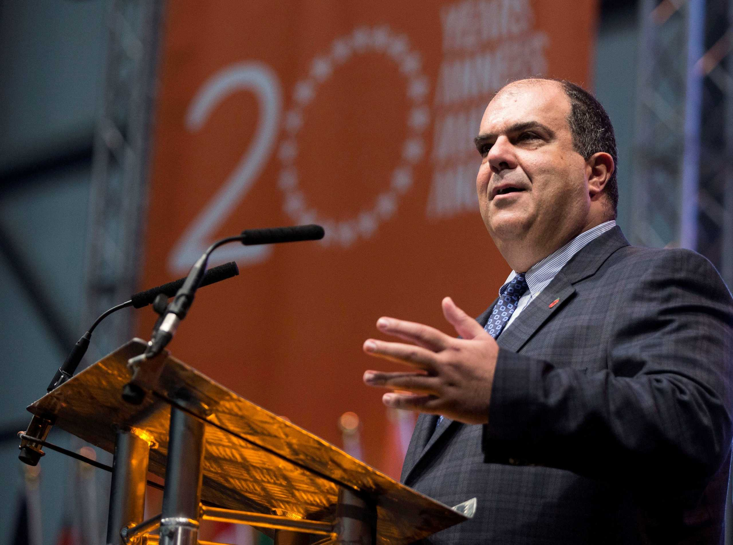 FILE PHOTO: Easyjet founder Stelios Haji-Ioannou speaks at a media event to celebrate 20 years in business at Luton Airport, southern England, November 10, 2015. REUTERS/Eddie Keogh/File Photo