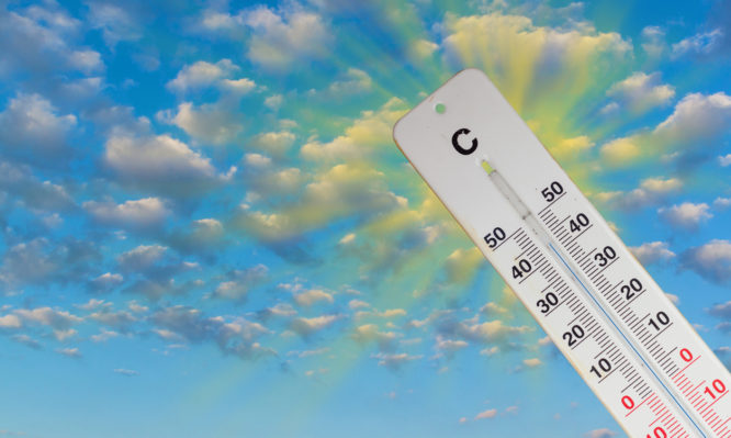 Thermometer Sun Sky 44 Degrees. Hot summer day. High temperatures in degrees Celsius