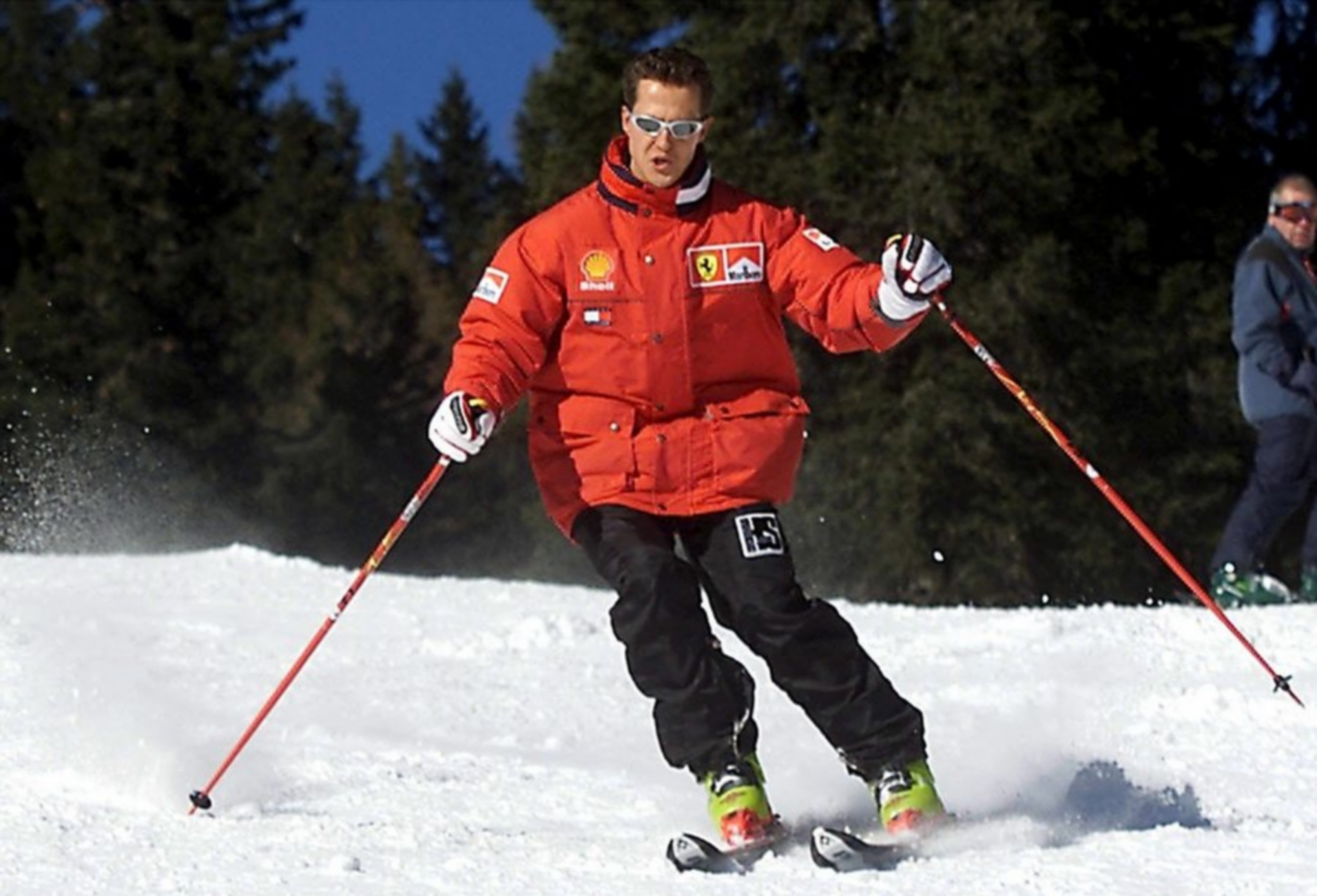 epa04047958 (FILE) A file picture dated 11 January 2000 shows German the Formula One Ferrari driver Michael Schumacher carving a turn while skiing at the Italian resort of Madonna di Campiglio, Italy. According to reports, Michael Schumacher on 30 January 2014 that Sabine Rehm the agent former Formula 1 champion Michael Schumacher has confirmed reports that doctors have started the process of bringing the driver out of his medically induced coma. Schumacher received a head injury sustained in a skiing accident at a French Alps resort 29 December 2013.  EPA/ERCOLE COLOMBO