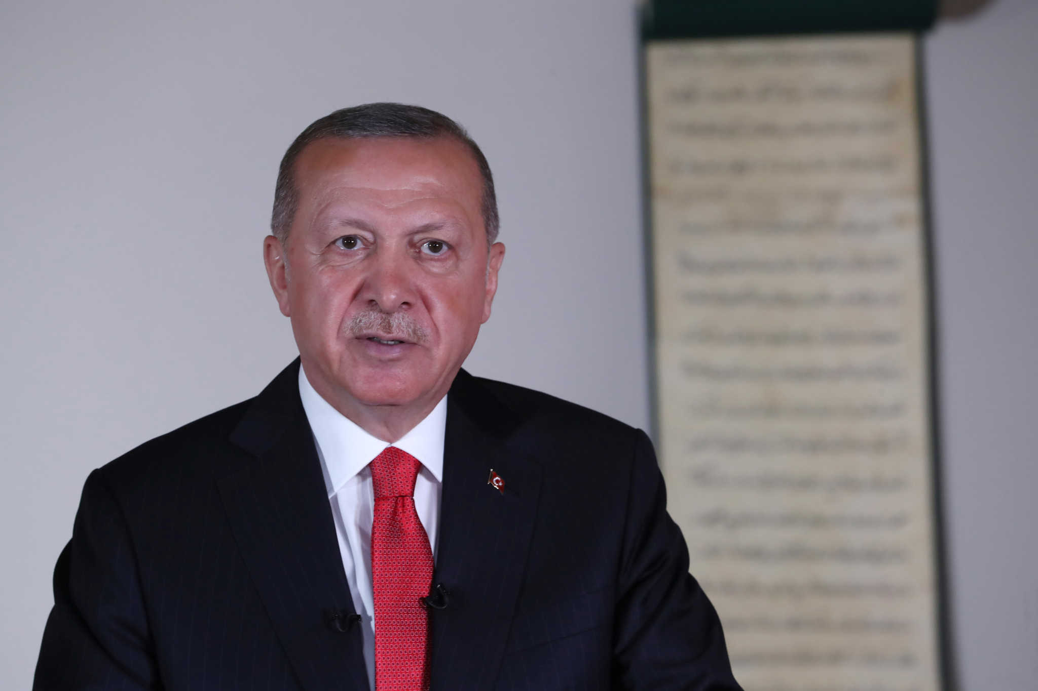 Turkish President Tayyip Erdogan delivers a televised address to the nation in Ankara, Turkey, July 10, 2020. Turkish Presidential Press Office/Handout via REUTERS ATTENTION EDITORS - THIS PICTURE WAS PROVIDED BY A THIRD PARTY. NO RESALES. NO ARCHIVE