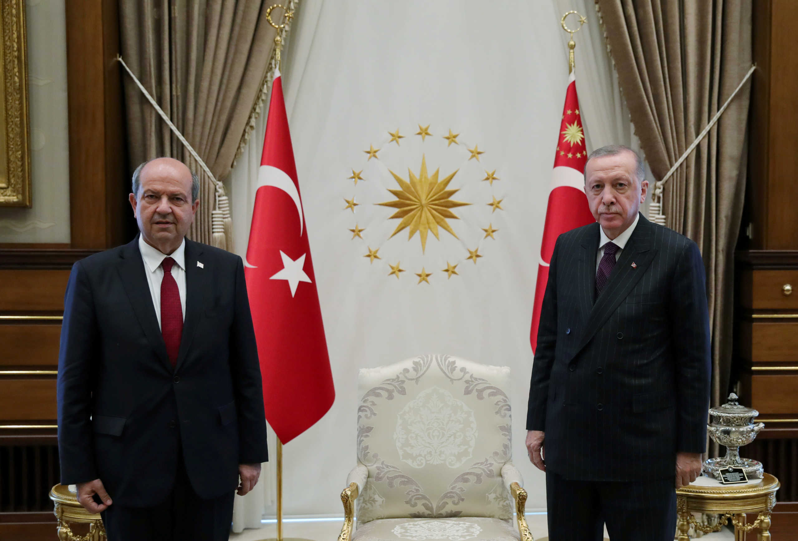 FILE PHOTO: Turkish President Tayyip Erdogan meets with Ersin Tatar, prime minister of the breakaway state of Northern Cyprus, in Ankara, Turkey October 6, 2020. Presidential Press Office/Handout via REUTERS ATTENTION EDITORS - THIS PICTURE WAS PROVIDED BY A THIRD PARTY. NO RESALES. NO ARCHIVE./File Photo