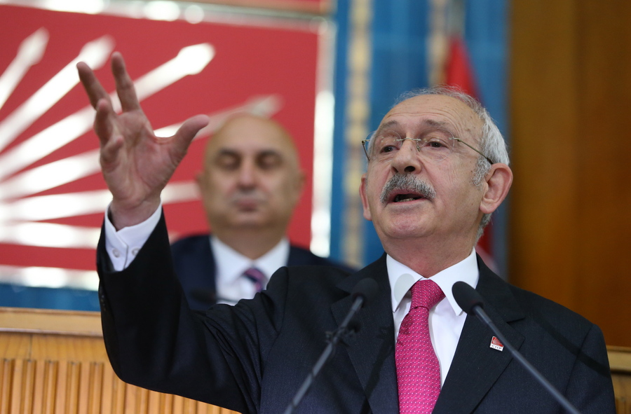"""epa07553314 Republican People's Party (CHP) leader Kemal Kilicdaroglu addresses  members of ruling Republican People's Party (CHP) at their group meeting at the parliament in Ankara, Turkey, 07 May 2019.  According to reports, the Turkish Electoral Commission has ordered a repeat of the mayoral election in Istanbul as President Recep Tayyip Erdogan's AK Party had alleged there was """"corruption"""" behind his party losing  EPA/STR"""