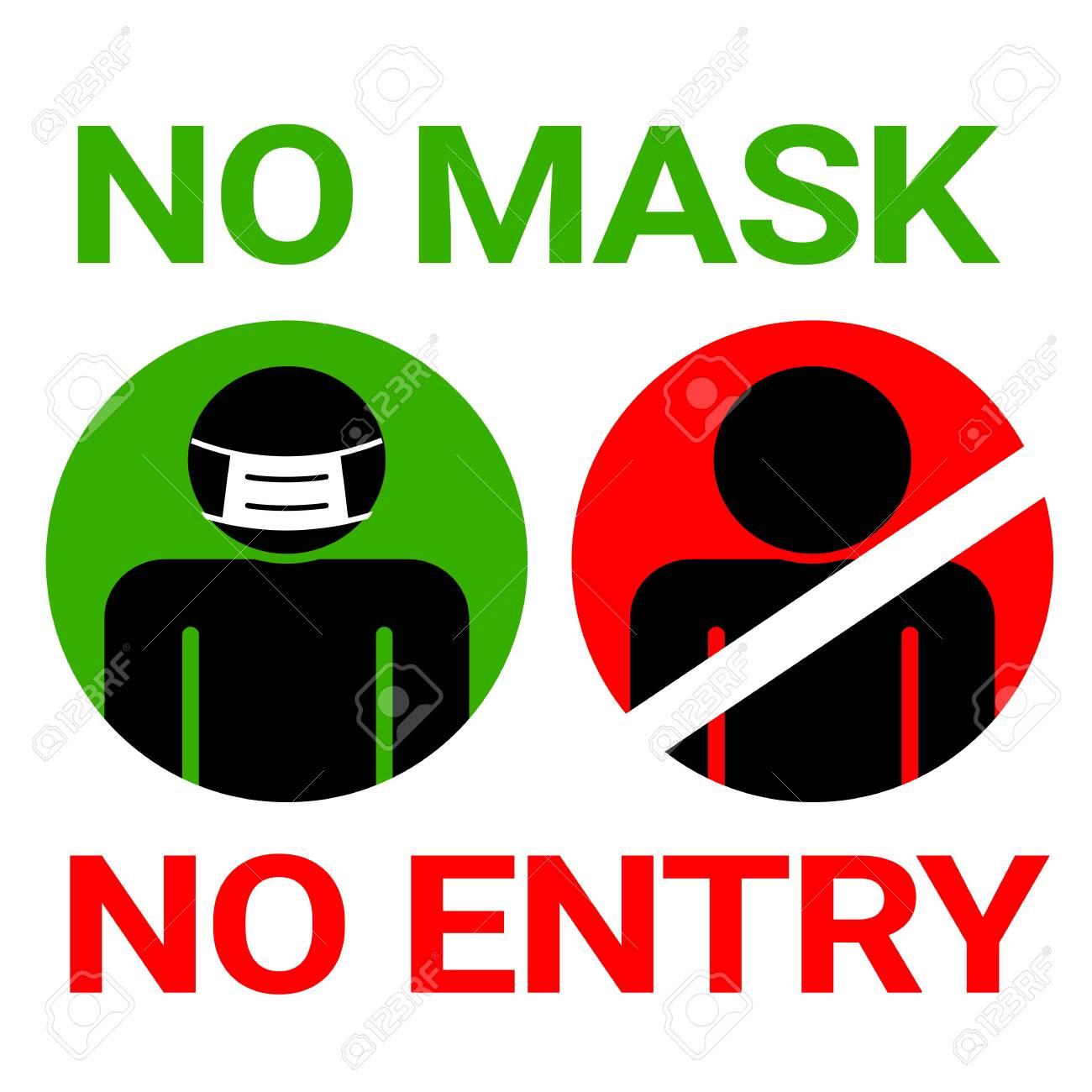 No mask no entry sign for Covid19 Corona  Virus protection concept