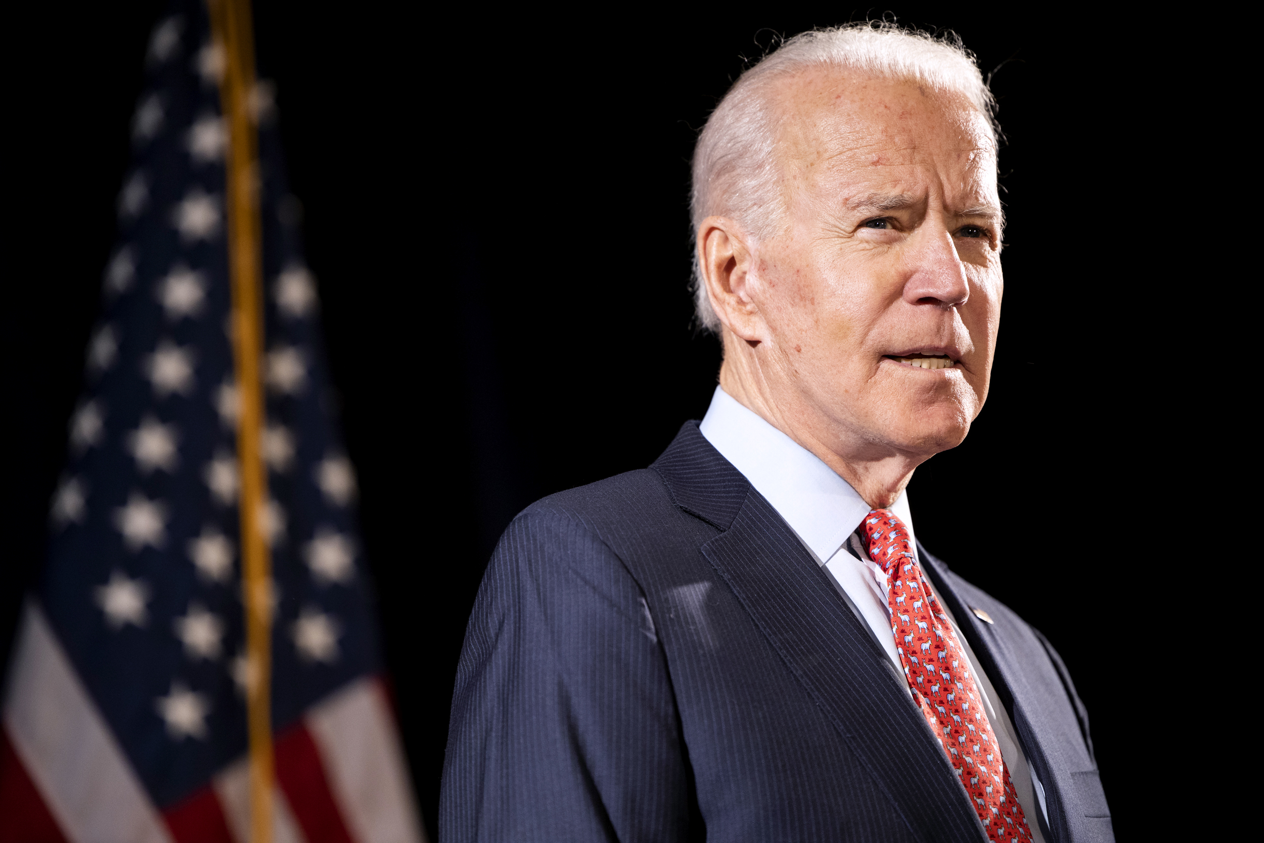 Former Vice President Joe Biden, 2020 Democratic presidential candidate, speaks during a news conference in Wilmington, Delaware, U.S., on Thursday, March 12, 2020. Biden sought to deliver an antidote to President Donald Trump's response to the coronavirus outbreak on Thursday, unveiling a new plan that shows how he would fight the spread of the virus and urging the administration to use it. Photographer: Ryan Collerd/Bloomberg via Getty Images