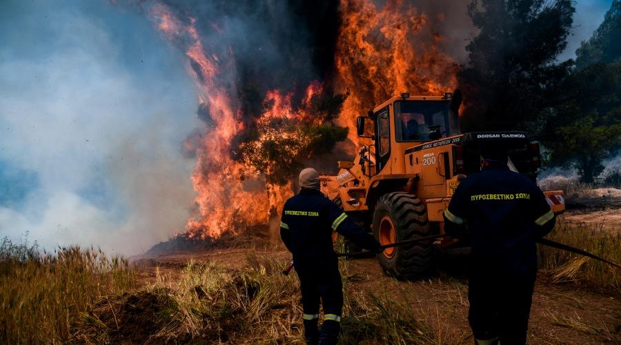 """Στιγμιότυπο από τον οικισμό Πευκανέα, Παρασκευή 21 Μαΐου 2021. Η φωτιά που ξεκίνησε το βράδυ της Τετάρτης από το Σχιστό Λουτρακίου επεκτάθηκε με κατεύθυνση προς τα Μέγαρα καίει για δεύτερο 24ωρο. Για την κατάσβεση της επιχειρούν στην περιοχή 278 πυροσβέστες με 89 οχήματα, 10 ομάδες πεζοπόρων τμημάτων, το ειδικό μηχανοκίνητο της Πυροσβεστικής, το κινητό επιχειρησιακό κέντρο """"Ολυμπος"""", 12 αεροπλάνα και 2 ελικόπτερα που κάνουν συνεχώς ρίψεις νερού, καθώς και 1 ελικόπτερο της Πυροσβεστικής, ως συντονιστικό. Ταυτόχρονα, στην προσπάθεια κατάσβεσης της πυρκαγιάς συνδράμουν εθελοντές πυροσβέστες και μηχανήματα έργου.  (EUROKINISSI/ΜΙΧΑΛΗΣ ΚΑΡΑΓΙΑΝΝΗΣ)"""