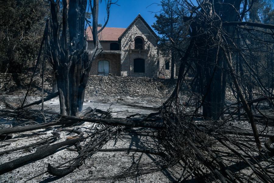 Καταστροφές από την πυρκαγιά στα πρώην βασιλικά κτήματα στο Τατόι, Σάββατο 7 Αυγούστου 2021. (EUROKINISSI/ΜΙΧΑΛΗΣ ΚΑΡΑΓΙΑΝΝΗΣ)