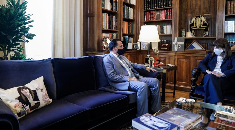 Συνάντηση της Προέδρου της Δημοκρατίας Κατερίνας Σακελλαροπούλου με τον υπουργό Ανάπτυξης Άδωνι Γεωργιάδη, Τρίτη 28 Σεπτεμβρίου 2021. (EUROKINISSI/ΓΙΡΓΟΣ ΚΟΝΤΑΡΙΝΗΣ)